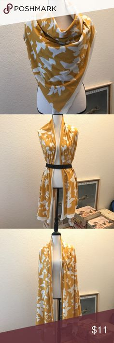 H&M Organic Cotton Scarf Mustard yellow with cream birds ~ Hennes Organic Cotton Collection ~ Approx 41x89 H&M Accessories Scarves & Wraps
