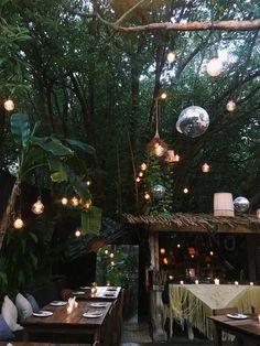 Jungle in Tulum, Mexico Outdoor Cafe, Outdoor Decor, Outdoor Christmas Decorations, Holiday Decor, Garden Cafe, Outdoor Restaurant, Tulum Mexico, Restaurant Interior Design, Unique Gardens