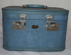Vintage Train Case Suitcase Baby Blue by ilovevintagestuff on Etsy