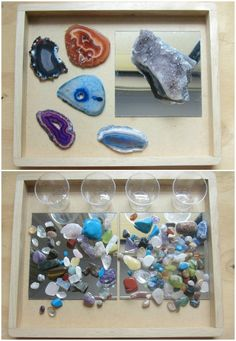 Reggio activities for toddlers – exploring rocks and minerals – An Everyday Story Play Based Learning, Learning Through Play, Early Learning, Toddler Play, Toddler Activities, Spring Activities, Toddler Preschool, Theme Nature, Nature Table