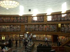 Stockholm Public Library was opened in 1928 and designed by Gunnar Asplund. The interior of the main part of the building is a rotunda. The library holds more than 2 million volumes and over 2.4 million mixed media items.