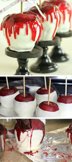 Bloody Candy Apples Halloween | Click Pic for 22 DIY Halloween Party Ideas for Kids | Easy Halloween Party Food Ideas for Kids to Make
