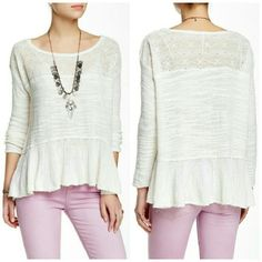 Free People Kristobel Sweater - NWT Get in touch with your inner flower child in a cozy knit top styled for festival season with an embroidered illusion yoke panel and elongated bell sleeves.   | Measurements | Size: Medium  | Materials | Body: 57% cotton, 23% rayon, 20% nylon. Trim: 54% cotton, 46% nylon.  Make me an offer! Bundling discounts always available! Free People Sweaters Crew & Scoop Necks