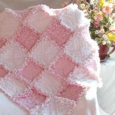 Baby Girl Rag Quilt Tiny Roses