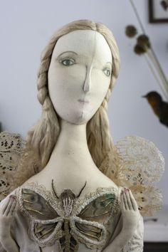 Collectors Doll ooak textile art by Pantovola 'Mairéad Moth Fae'