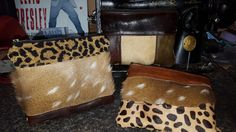Axis deer hide and leather zipper pouch wristlets