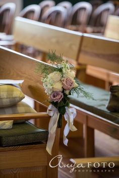 Wedding Ceremony Decor anyafoto.com #wedding, church wedding, indoor wedding, wedding ceremony decor ideas, flowers on pews, roses on pews