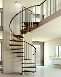 Beautiful stair lighting, elegantly simple. escalier en colimacon bois et chrome