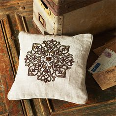 don't be surprised when a subtle treasure like our imperial small square pillow has a pronounced effect. this 100% handcrafted gem was created by arti