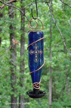 Glass Bottle Bird-Feeder  The Bistro by RebeccasBirdGardens
