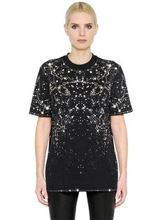 GIVENCHY Constellations Cotton Jersey T-Shirt, Black. #givenchy #cloth #tops