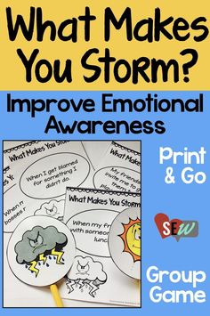 This small group game is a great way to start an anger management group in lower elementary. It will help students become aware of their emotions, specifically what events make them feel angry. The game uses a storm cloud as a metaphor for anger and is ap Anger Management Activities, Counseling Activities, Therapy Activities, Group Activities, Therapy Ideas, Kids Therapy, Therapy Games, Behavior Management, Stress Management