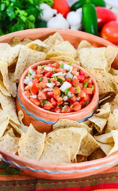 Pico de Gallo Salsa from Flavor Mosaic is a delicious, colorful, spicy, healthy Mexican appetizer dip.  #salsa #cincodemayo #appetizer