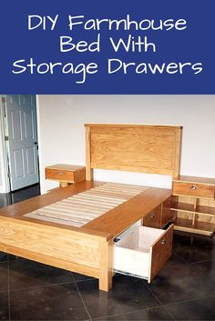 DIY Farmhouse Bed With Storage Drawers - Storage is pretty non existent in any…