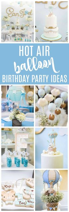 Boy's Hot Air Balloon First Birthday Party Ideas on Pretty My Party