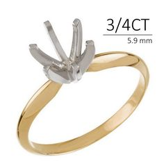 Engagement Rings – 0.75 CT 14k Solitaire Ring Mounting 6 Prong Y Gold – a unique product by PureCreations on DaWanda