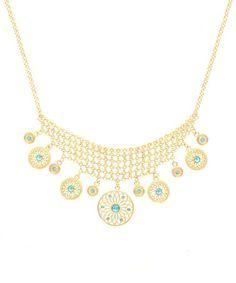 Look what I found on #zulily! Gold & Blue Filigree Coin Mesh Bib Necklace #zulilyfinds