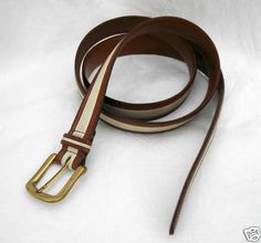JOHNSTON & MURPHY Belt Mens 42 European Tanned Cowhide made in USA Brown Ivory