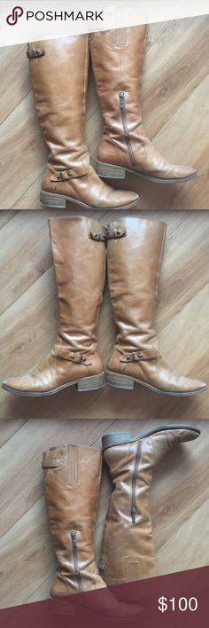 Guess by Marciano Tan Leather Riding Boots Guess by Marciano Tan Leather Riding Boots. Gorgeous leather boots bring sophistication to any outfit. These are the perfect wardrobe staple and they go with everything! These are worn but in great condition as you can see in the photos! These hit just below the knee, lots of calf space and berg comfortable fit! Small heel adds a feminine touch to your favorite looks. Guess by Marciano Shoes Heeled Boots