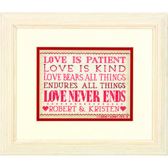"Inspired by 1 Corinthians 13:4-8, this simple yet stylish counted cross stitch design stitches up quickly. Love is Patient by Dimensions makes a wonderful keepsake for the newlyweds. Finished size: 7"" x 5"". Design by Beth Albert. © Beth Albert/Art Licensing. Counted cross stitch kit includes: • Presorted cotton thread • 14 count ivory Aida • Needle • Easy instructions with an alphabet for personalizing"