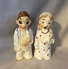 Hard to find set of quality mid century German bride and groom Before and After salt and pepper shakers, signed and dated, Frankfort 1957.