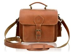 Leather camera bag by leather designer Grafea. Classic retro leather camera bag featuring full grain strong calfskin leather.