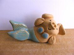 Little Guys Mermaid Pig Miniature Animal Figurine Cindy Pacileo Pottery Pot Belly Pigs, Piggly Wiggly, Pig Art, Cute Piggies, Flying Pig, This Little Piggy, Merfolk, Mermaid Art, Polymer Clay Art