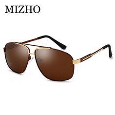 be466cd55d MIZHO Fashion Celebrity Retro Cool Brand Clear Sunglasses Polarized Men  Blue Lens Original Shield Quality Sun