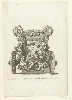 Josef Friedrich Leopold   Achteraanzicht van koets, Josef Friedrich Leopold, 1700   Kopie naar blad 4 of 5 van de serie Raggvaglio della solenne comparsa....