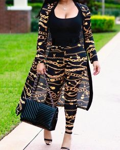 Golden Chain Print Belted Cover Ups With Pants fashion fashion blackfriday fashion outfits fashion trends fashion ideas fashion fall fashion teenage fashion minimalist fashion [. Classy Outfits, Chic Outfits, Fashion Outfits, Womens Fashion, Fashion Trends, Fashion Fashion, Classy Fashion, Dress Fashion, Party Fashion