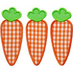 Three Carrots Applique by HappyApplique.com