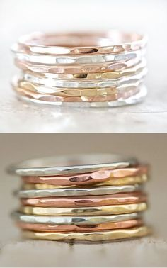 9 Hammered Stacking Skinny Rings in Fine Metals - In Your Choice of Rose and Yellow Gold Filled, and Sterling Metals or Mixed Based Metals.