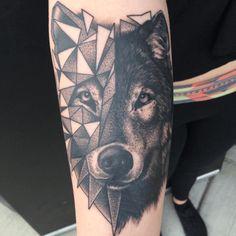 Cool geometric detail by Travis Harper. #inked #inkedmag #tattoo #ink #animal…