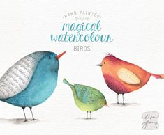 Add a magical touch to your next creative project with these three quirky little birds. The watercolor birds have been lovingly painted by me, ready for your designing pleasure! Create adorable nursery art or a sweet little baby-shower invitation. Perfect for creating a magical