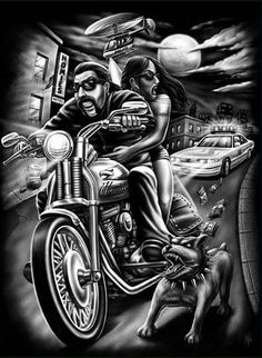 Ride it out to the end with you. Dope Cartoon Art, Dope Cartoons, Chicano Love, Chicano Art, Motorcycle Art, Bike Art, Og Abel Art, David Mann Art, Skull Girl Tattoo