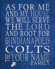 Indianapolis Colts football inspired Personalized Customized Art Print-