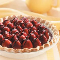 Need chocolate pie recipes? Get chocolate pie recipes for your next meal or dinner from Taste of Home. Taste of Home has chocolate pie recipes including chocolate cream pie recipes, chocolate pecan pie recipes, and more chocolate pie recipes and ideas. Pie Recipes, Sweet Recipes, Dessert Recipes, Cooking Recipes, Simple Recipes, Fruit Recipes, Cooking Tips, Strawberry Pie, Strawberry Recipes