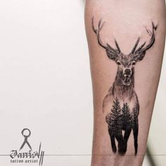 Double exposure stag tattoo by Janis #AwesomeTattooIdeas