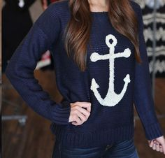 Navy anchor sweater <3