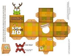 cut the rope papercraft print | Om-Nom Reindeer Holiday Box by viperfan14 on deviantART