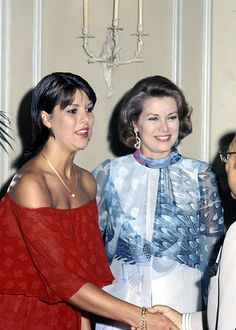 Princess Caroline and Princess Grace of Monaco during Royal Family of Monaco Host a Party at Regency Hotel in New York City, United States, 1976.