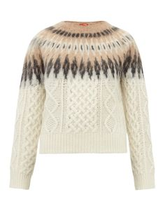 Fair isle + cable sweater Knitting Blogs, Knitting Designs, Sock Knitting, Knitting Tutorials, Knitting Ideas, Free Knitting, Knitting Patterns, Fair Isle Pattern, Knitwear Fashion