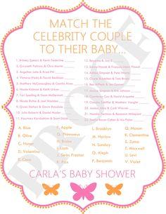 Celebrity Baby Shower Game Pink & Orange Butterflies (JPEG File). $10.00, via Etsy.
