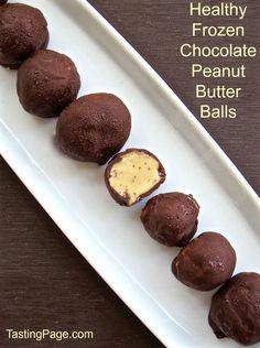 Healthy Frozen Chocolate Peanut Butter Balls   TastingPage.com