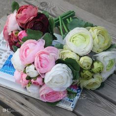 Wholesale 10 Heads Bunch Silk Fabric Simulation Artificial Flower Camellia Rose Romantic Pink Bridesmaid Wedding Bridal Bouquet Wedding Flowers For Hair Wedding Flowers For Less From Dinaha, $22.89| Dhgate.Com