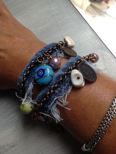 Textile Jewelry, Fabric Jewelry, Boho Jewelry, Jewelery, Fashion Jewelry, Diy Denim Bracelets, Recycled Bracelets, Leather Cuffs, Leather Jewelry