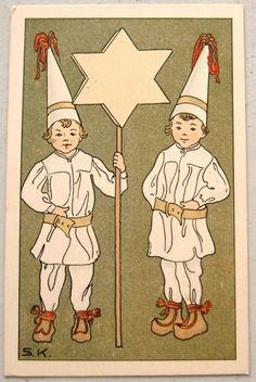 Art Deco  CHILDREN Hold Christmas STAR Heckscher