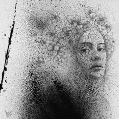 Black Cloud Portraits Stippling Drawings and Spray Paint. To see more art and information about Slava Triptih click the image. Dot Painting, Spray Painting, Pixel Tattoo, Stippling Art, Ap Studio Art, Creative Artwork, Pencil Drawings, Pencil Art, Art Drawings
