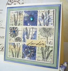 Just have too many stamps for this theme over at the Moxie Fab blog not to have another try! This grid is made up of two stamps from Crafty...