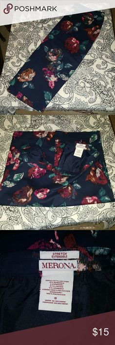 Merona Floral Pencil Skirt Size 8 New, but took off the tags. Pencil skirt with a gorgeous large floral print on a navy background. Size 8. Merona Skirts Pencil